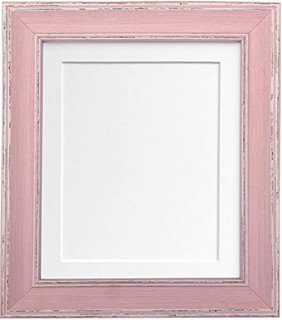 FRAMES BY POST Scandi Vintage Distressed Pink Picture Photo Frame With Black, White, Ivory, Blue, Pink and Light/Dark Grey Mounts