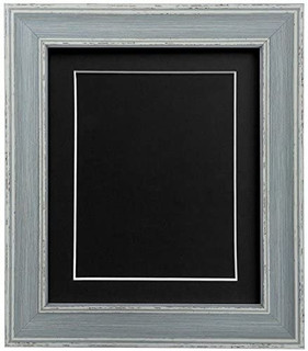 FRAMES BY POST scandi Distressed Blue Picture Photo frame With Black,White,Ivory, Pink or Blue Mounts with Backing Boards