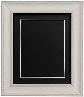 FRAMES BY POST Scandi Distressed Pale Grey Picture Picture Photo frame With Black,White,Ivory, Pink or Blue Mounts with Backing Boards