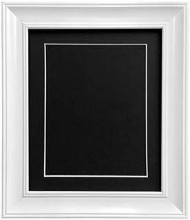 FRAMES BY POST Scandi Vintage White Picture Photo Frame With Black,White,Ivory, Pink or Blue Mounts with Backing Boards