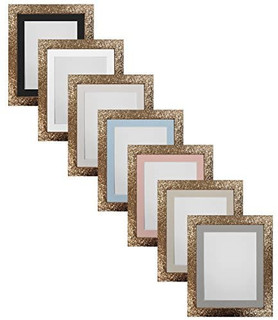 Cabaret Gold Picture Photo Frames with White Black Ivory Pink Blue Light Grey and Dark Grey Mounts