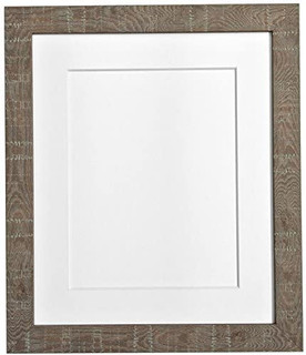 FRAMES BY POST Deep Grain Medium Brown Photo Frame with White Mount, Black, Pink, Ivory, Light Blue Grey, Light Grey, and Light Grey Mount