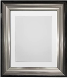 FRAMES BY POST Firenza Black and Silver Picture Photo Frames with Black, White, Ivory, Blue, pink, Light and Dark Grey Mounts