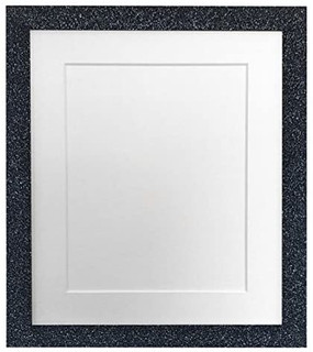 FRAMES BY POST Glitz Charcoal Picture Photo Frame with White, Black, Ivory, Blue, Pink, Light and Dark Grey Mounts