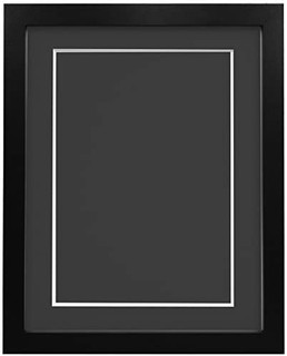 FRAMES BY POST 25mm wide H7 Black Picture Photo Frame 25mm Wide with Black, White, Ivory, Pink and Light Blue Grey Mount and Backing Board