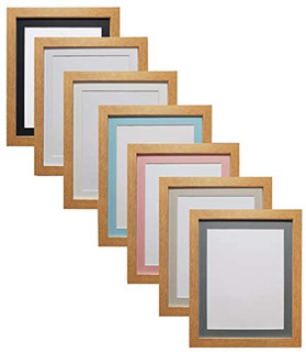 FRAMES BY POST 25mm wide H7 Oak Picture Photo Frame 25mm Wide with Black, White, Ivory, Pink and Light Blue Grey Mount and Backing Board