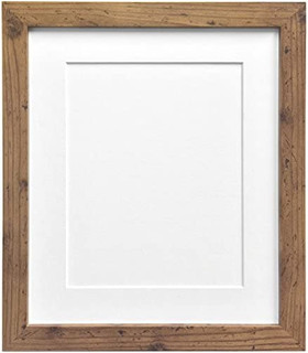 FRAMES BY POST 25mm wide H7 Rustic Oak Picture Photo Frame 25mm Wide with Black, White, Ivory, Pink and Light Blue Grey Mounts
