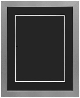 FRAMES BY POST 25mm wide H7 Silver Picture Photo Frame 25mm Wide with Black, White, Ivory, Pink and Light Blue Grey Mount and Backing Board