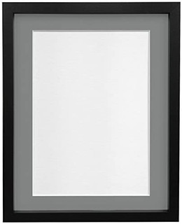 FRAMES BY POST 18mm wide Rio Black Picture Photo Frame with Light Grey and Dark Grey Mounts