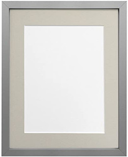 FRAMES BY POST 18mm wide Rio Silver Picture Photo Frame with Light Grey and Dark Grey Mounts