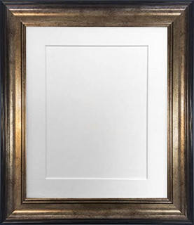 FRAMES BY POST Scandi Black & Gold Picture Photo Frame With Black, White, Ivory, Blue, Pink and Light/Dark Grey Mounts