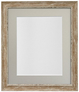 FRAMES BY POST Nordic Distressed Wood Photo Frame with Light Grey Mount