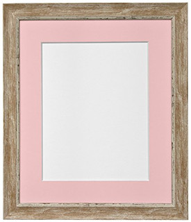 1117PQXWO29 | FRAMES BY POST Nordic Distressed Wood Photo Frame with Pink Mount