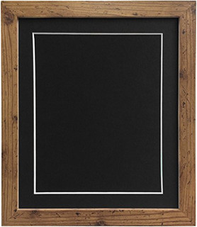 0609P8RK8DF | FRAMES BY POST 25mm wide H7 Rustic Oak Picture Photo Frame 25mm Wide with Black, White, Ivory, Pink and Light Blue Grey Mount and Backing Board