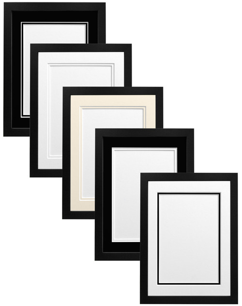 FRAMES BY POST H7 Black Picture Photo Frame With Ivory Double Mount