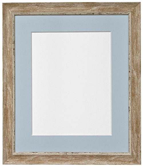 FRAMES BY POST Nordic Distressed Wood Photo Frame with Blue Grey Mount