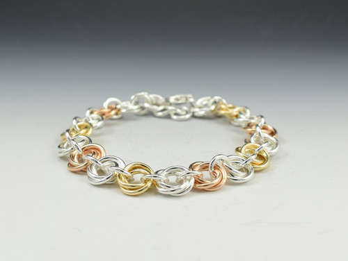 Sterling Silver/14k Goldfill Tri-color Flower Bracelet