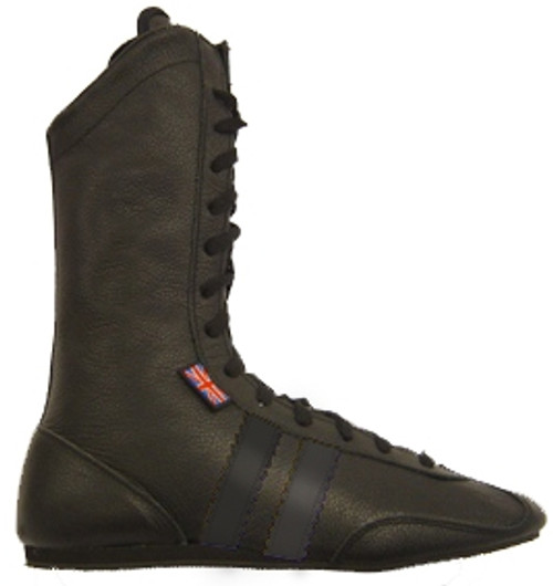 JUNIOR LEATHER HIGH BOXING BOOTS BLACK
