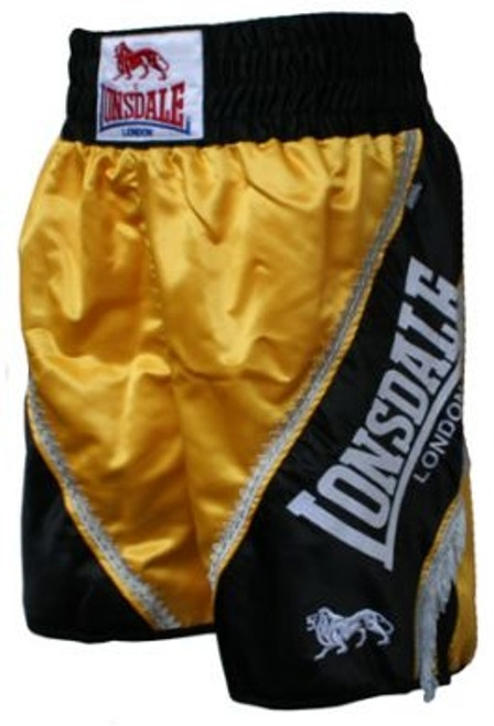 LONSDALE LARGE LOGO AND BRAID TASSLE SHORT: BLACK/YELLOW