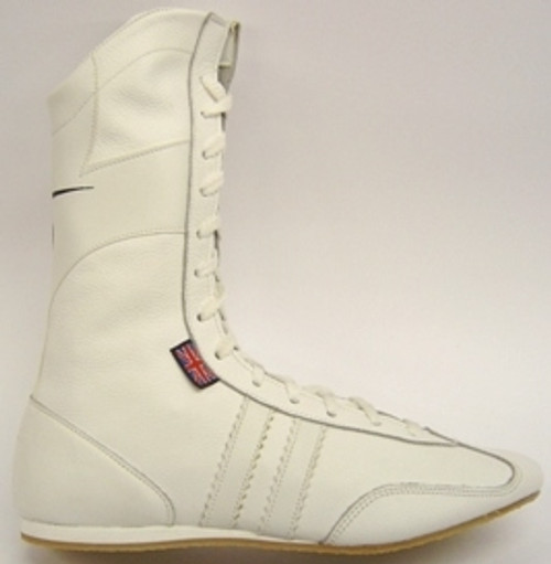 JUNIOR LEATHER HIGH BOXING BOOTS WHITE