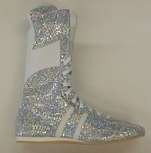 JUNIOR SPARKLE HI-TOP BOXING BOOTS SILVER