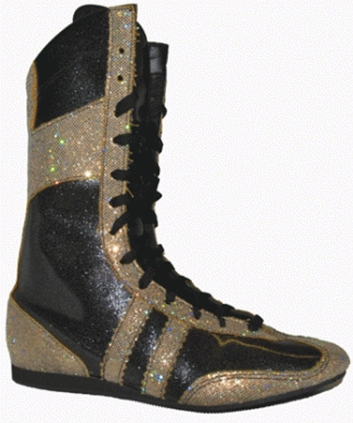 JUNIOR TWO TONE SPARKLE HI-TOP BOXING BOOTS