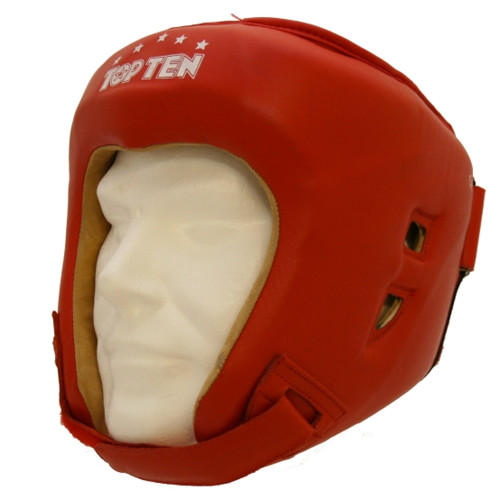 TOP TEN AIBA CLASSIC LEATHER HEADGUARD: RED