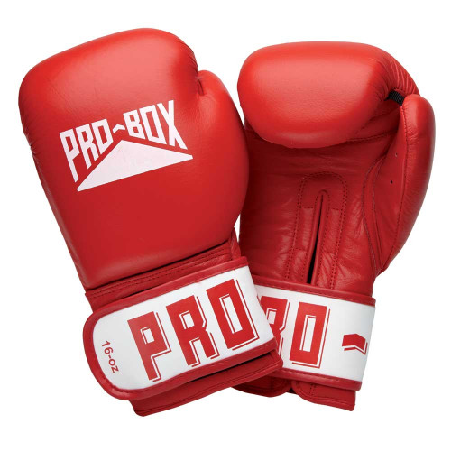 PRO BOX ESSENTIAL LEATHER GLOVE: RED