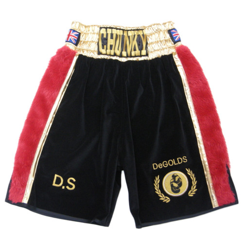 CUSTOM MADE VELVET AND FUR BOXING SHORTS HA0562