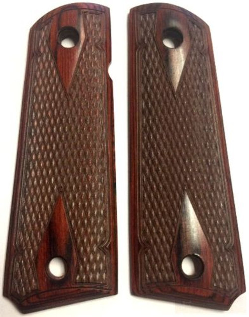 1911 Full Size Double Diamond Checkered Rosewood Grips