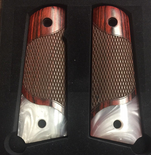 1911 Full Size Checkered Rosewood Grips w/Acrylic Pearl Accent
