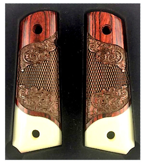 1911 Full Size Carved Rosewood Grips w/Acrylic Ivory Accent
