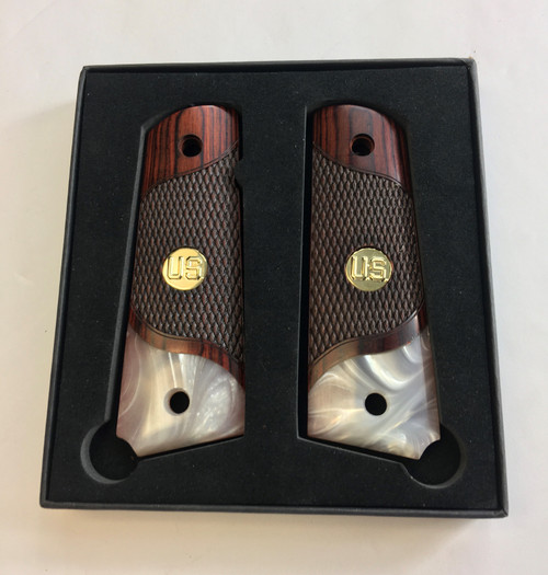 1911 Full Size Checkered Rosewood Grips Pearl Accent w/Gold US Medallions