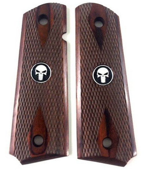 1911 Colt Full Size Double Diamond Checkered Rosewood Grips w/Black Punisher Medallions