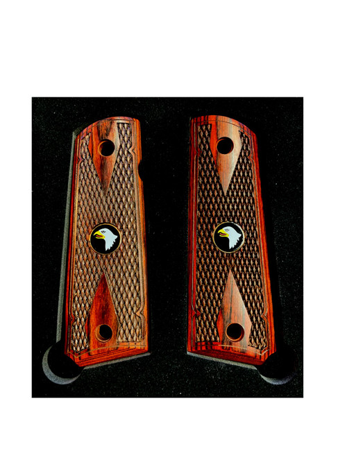 1911 Colt Full Size Double Diamond Checkered Rosewood Grips w/Screaming Eagle Medallions