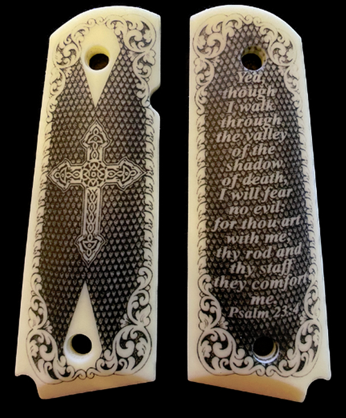 1911 Full Size Gun Grips Acrylic Ivory Scrimshaw w/Scroll and 23rd Psalm