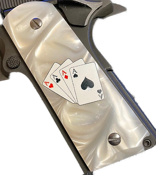 1911  Gun Grips Acrylic Pearl White w/4 Aces in color