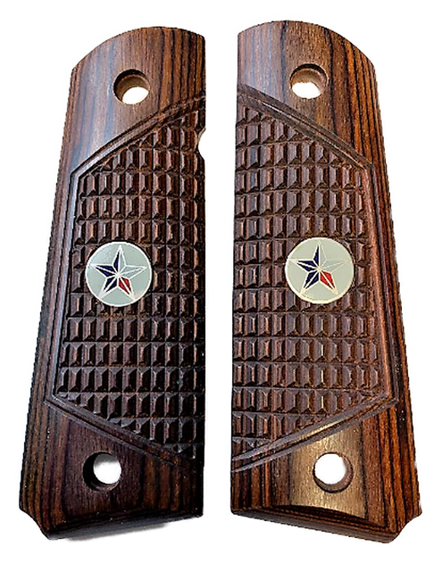 1911 Full Size Outback Rosewood Grips w/Texas Star Medallions