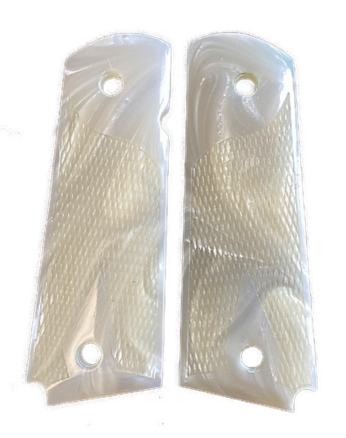 1911 Gun Grips Acrylic Pearl White w/checkered grip for texture