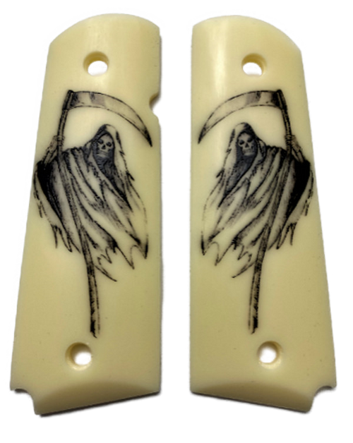 Full size faux ivory UV Printed Grim Reaper fit Colt Gov and Clones Rock Island