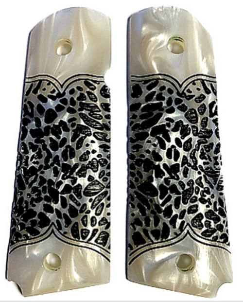 1911 Full size faux pearl w/textured black leopard spots fit Colt Gov and Clones Rock Island