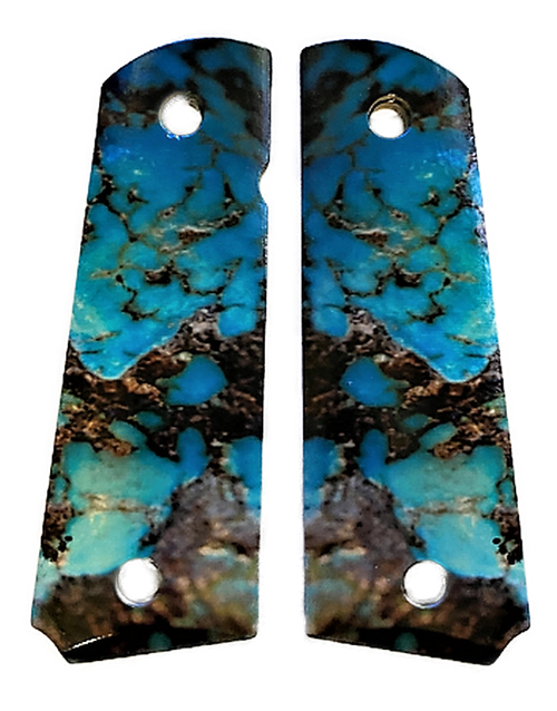 1911 fits Grips Colt Gov & Clones HD Picture of Turquoise UV Printed