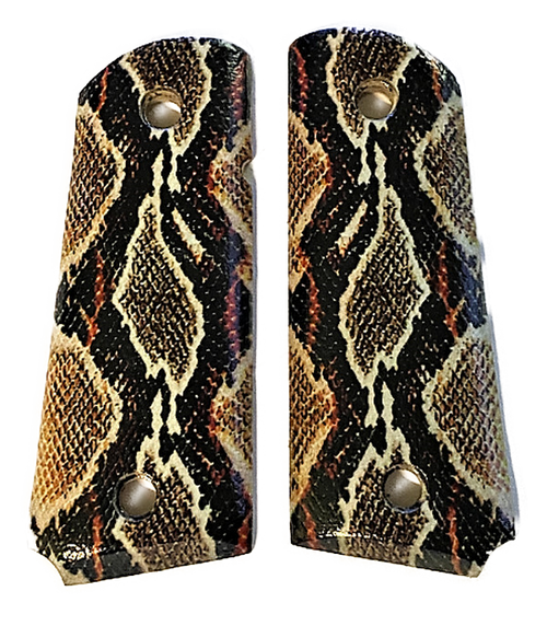 1911 grips fits COLT Springfield Rock Island Clones Naked Officer, Compact UV Printed HD Picture of Rattle Snake Skin