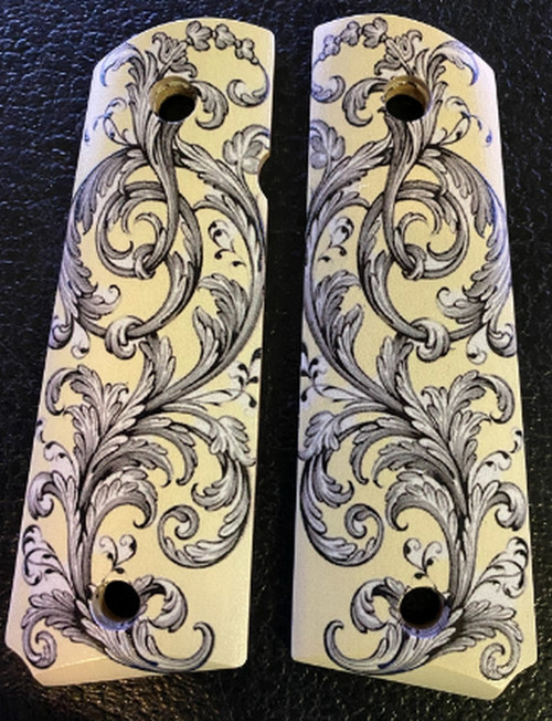 1911 fits Grips Colt Gov & Clones HD Picture of Scrolls UV Printed on wood.