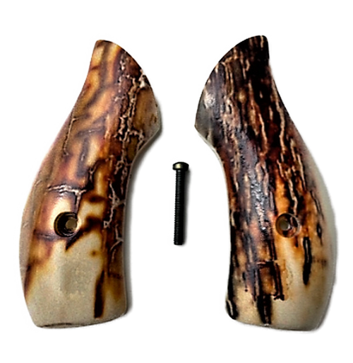 S&W J Frame Round Butt grips with HD Image of Mammoth Tusk UV printed over acrylic pearl