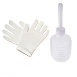 Disposable use vaginal irrigator and white cotton gloves.