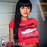 sex doll wig, long black straight with bangs