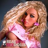 Shoulder length curly blonde center part wig for premium TPE sex dolls