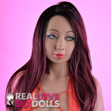 Black to purple ombre wig with middle part for premium TPE sex dolls