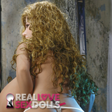 Long dark blonde curly wig for life-like TPE love dolls